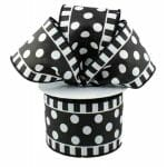 Black White Polka Dot Stripe Ribbon