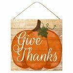 Give Thanks Pumpkin Sign