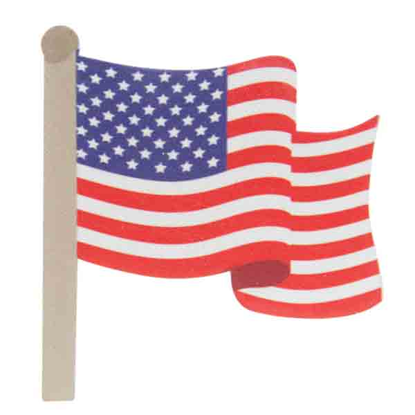 American Flag Painted Wood Cutout