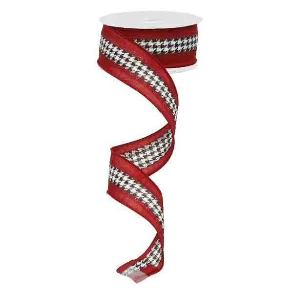 Crimson Houndstooth Ribbon